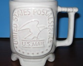 Frankoma C1 Commemorative Postal Coffee Mug Cup US Mail Norman OK white