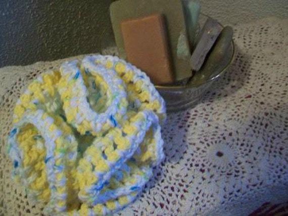Bath and Shower Scrubbie 5 inch Crocheted Cotton Yellow White and Turquoise Speckled