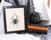 Halloween decor frame  dictionary print  subway art spooky gothic typography spider black white orange