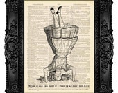 Alice Upside Down BW - Dictionary Art Print Vintage Upcycled Antique Book Page no.284
