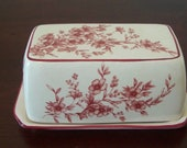 Vintage Red and White Butter Dish