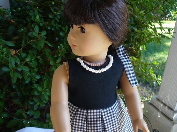 american girl doll clothes/ handmade/ Thanks giving / black and white checkered pattern/ holiday dress/