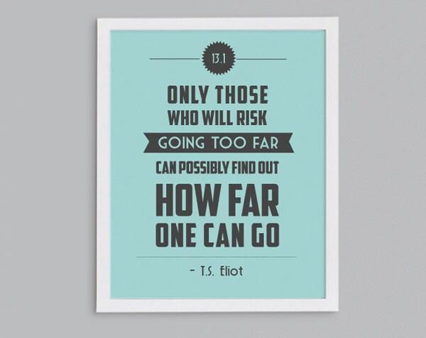 half marathon gift 13 1 t s eliot retro print typographic