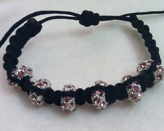 Pink Rhinestone Breast Cancer Awareness Bracelet