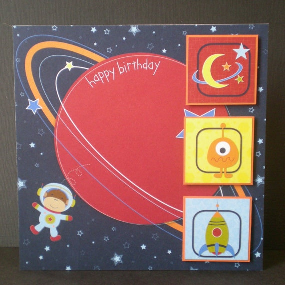 planet birthday card, child, space theme, star, red, blue, hand coloured