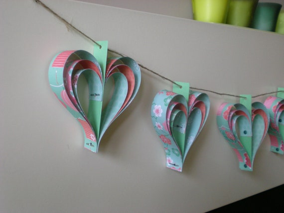 paper hearts garland, set of 10, oriental theme, home decor, pink, green, paper bunting, party decoration