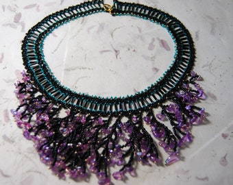 Purple Glass Chip Necklace