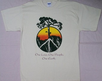 3XL Peace Tree One Love, One People, One Earth Crew T-Shirt Natural Color