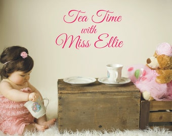 Playroom Vinyl Decal - Tea Party Childrens Art Wall Decal -  Vinyl Lettering - Play Room Decor- Tea Time