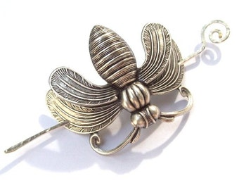 Silver Bee Shawl Pin, Honeybee Scarf Pin, Silver Shawl Pin, bee hair slide, bumble bee, oxidized, bug, barrette, silver filled, fall fashion