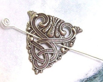 Celtic Shawl Pin, Silver Celtic Scarf Pin, Celtic Hair slide, hammered, sweater pin, fall fashion, silver shawl pin, oxidized, matte silver