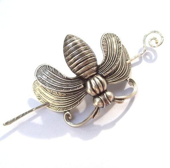 Silver Bee Shawl Pin, Honeybee Scarf Pin, Silver Shawl Pin, bee hair slide, bumble bee, oxidized, bug, barrette, silver filled, fall fashion