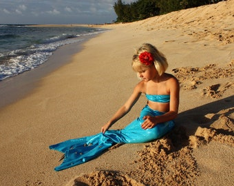 Swimmable Solid Jewel Mermaid Tail and Bandeau Top (without a mono fin)