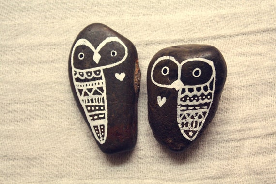 Hand Painted Rock Owls - Best Friends Forever