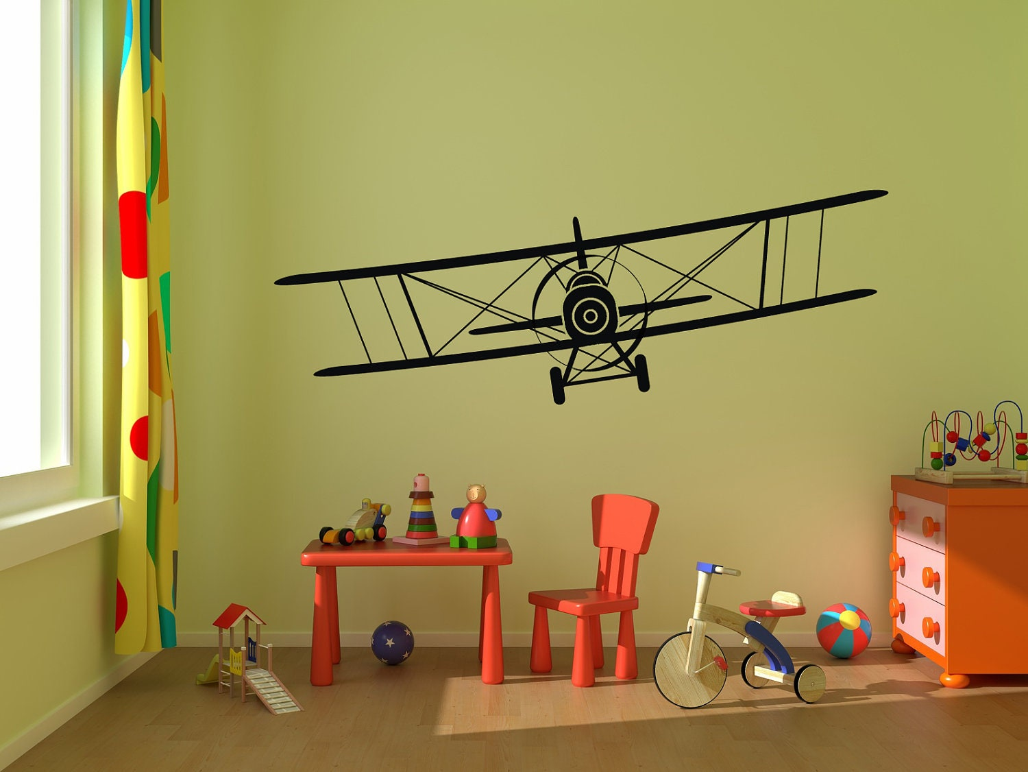 Airplane wall decal biplane vinyl wall graphics by stickerhog for Aeroplane wall mural