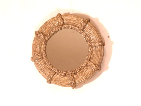 Small pocket purse wall hanging mirror hemp twine by for Small hanging mirror