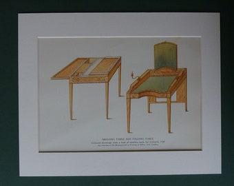 1948 Antique Furniture Print - British Craftmanship - Vintage - Dressing Table - Folding - Sketch - Carpentry - Matted Ready To Frame