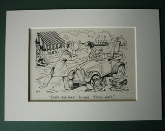 Original 1940s Enid Blyton Print - Car Parking - Ice Cream Parlour - Matted Ready To Frame - Hens - Chickens - Picture - Mounted
