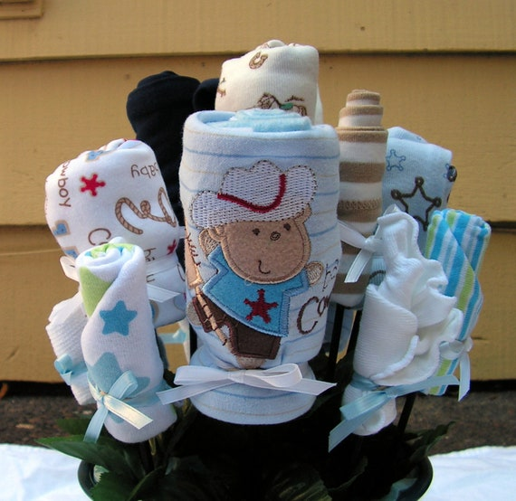 Items Similar To Baby Clothes Bouquet Cowboy Themed Baby