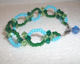 Vintage Turquoise Blue Green Beaded Link Bracelet Handmade Boho