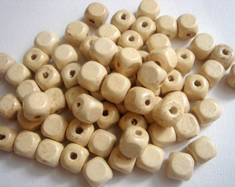 60 Geometric  Wooden beads -natural