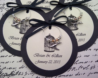 Custom Birds and Birdcage Themed Wine Charm Favors - Weddings, Bridal Shower, Rehearsal Dinner, Anniversary, Dinner Party or Special Event