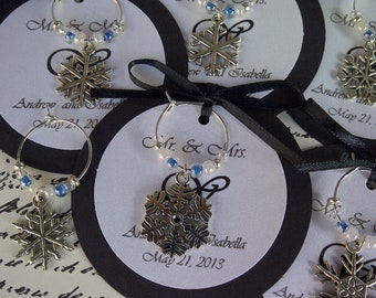 5-45 Custom Snowflake Wine Charm Favors - Weddings, Bridal Shower, Rehearsal Dinner, Anniversary, Birthday, Dinner Party or Special Event