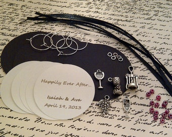 DIY Custom Wine Charm Favors - Weddings, Bridal Shower, Rehearsal Dinner, Anniversary, Birthday Party, Dinner Party or Special Event