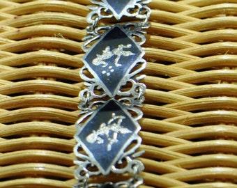 Stylish Black Enamel on Sterling Silver Siam Niello Bracelet