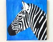 Zebra original painting / acrylic / free international shipping /6 x 6 inch