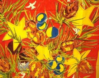 Hand painted Christmas tablecloth wall hanging stars balls  signed Caroline Scott