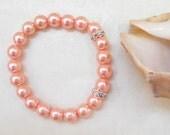 Pink pearl bracelet with rondelles - bridal bracelet - bridesmaid bracelet - bridal accessories