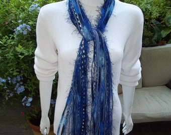 All Fringe Scarf  Beautiful Blues  Hand tied.    ready to ship