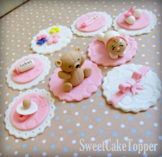 baby cake toppers baby shower cupcake topper handmade edible fondant cupcake 1420