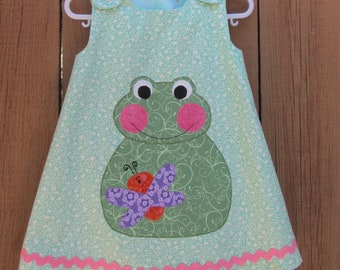 Froggy applique sun dress with rick rack trim
