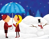 5x7 Illustrated Holiday Card - Christmas Card, New Years Card, Love Card, When We're Together