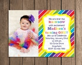 Simple and Sweet Rainbow Invitation  or Thank You Card Birthday Party Invitations Digital File