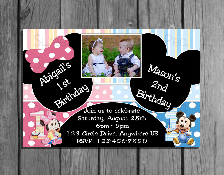 Boy girl twin 1st birthday invitations filmwisefo