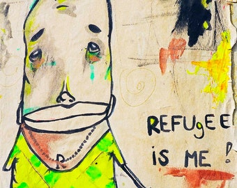 8 x 12 Refugee is Me Graffiti