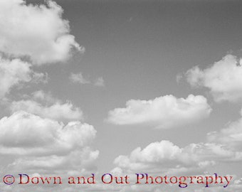 8 x 12 Black and White Drifting Clouds