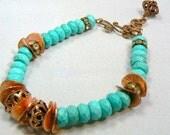 Turquoise Bracelet Blue Copper Jewelry Earrings Set