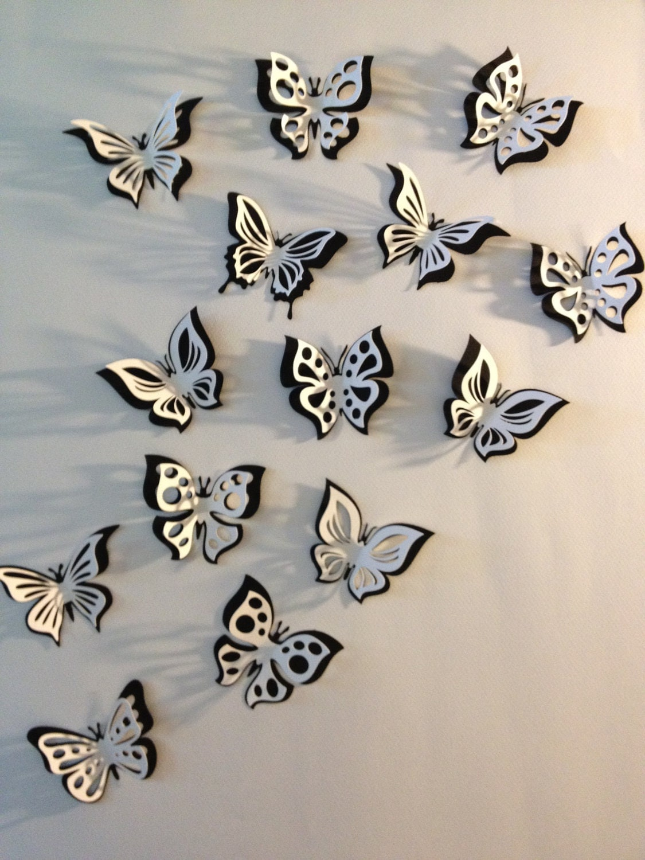 3d paper double butterfly sticker room decoration nursery for Decoration murale papillon 3d