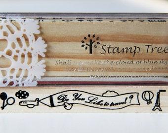 1 Wooden Rubber Stamp- Travel Banner Balloon. Border. Patterns - Scrapbooking. Cardmaking. Tag Making. Stamping
