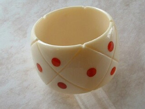 Huge Shultz Bakelite Carved and Dotted Bangle Bakelite and Lucite