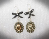 OOAK pair of earrings skull vintage goth bronze black bow tie