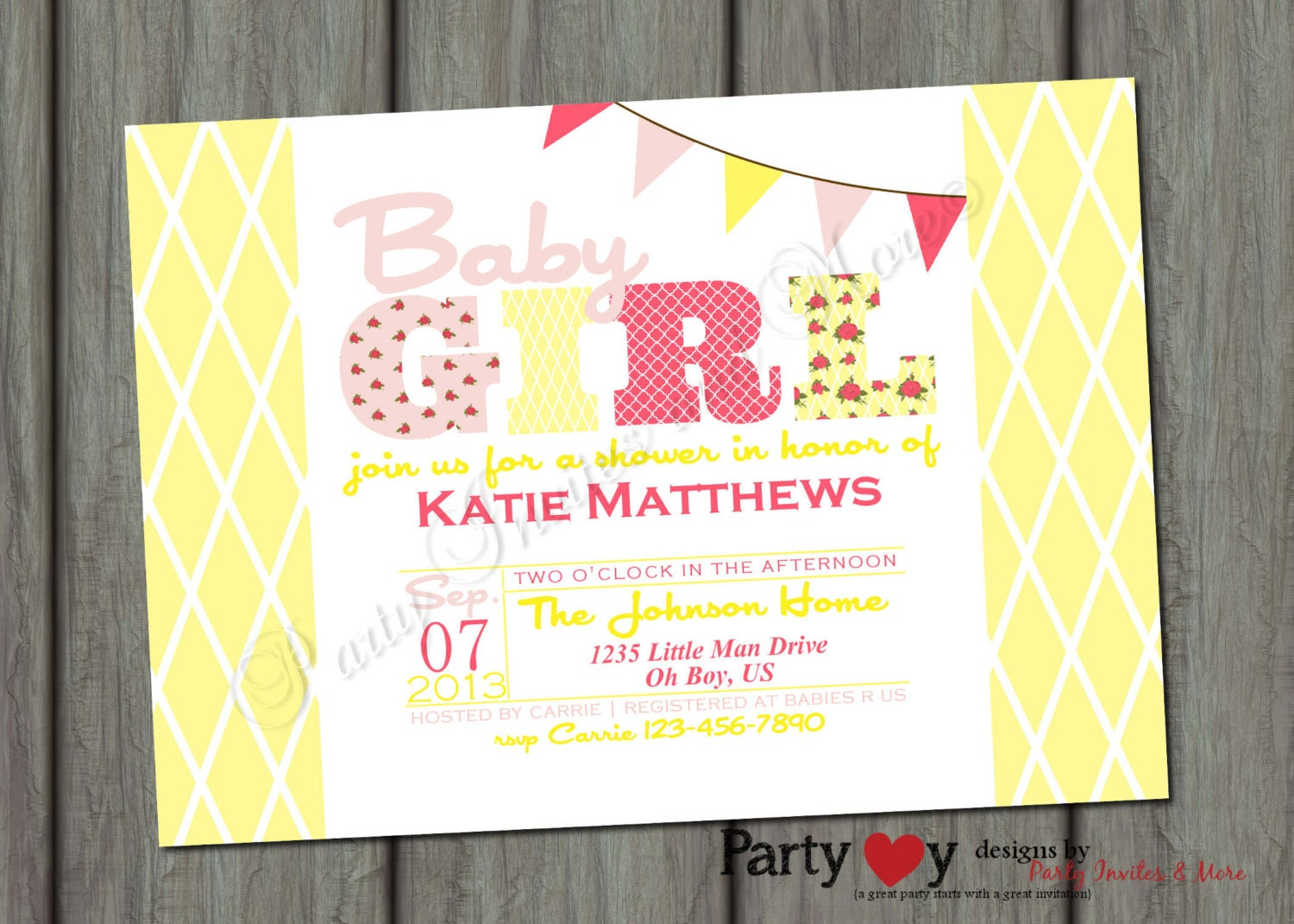 Baby Shower Yellow And Pink ~ Items similar to baby shower yellow and pink shabby chic