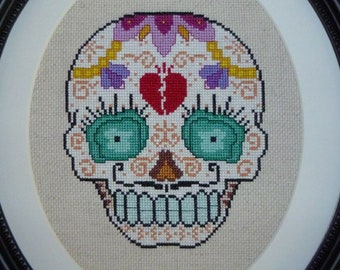 Broken Hearted Sugar Skull Cross Stitch Pattern