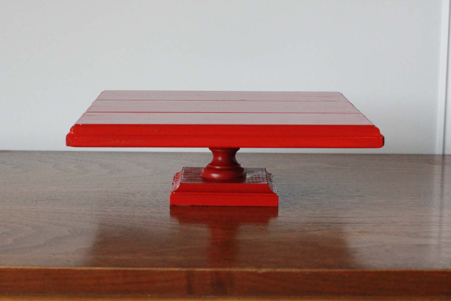 Red 10.5 inch Square Wooden Cake Stand by sweetdisplay on Etsy & Square Wooden Cake Stand. Love Is Sweet Cake Stand - Engraved Cake ...
