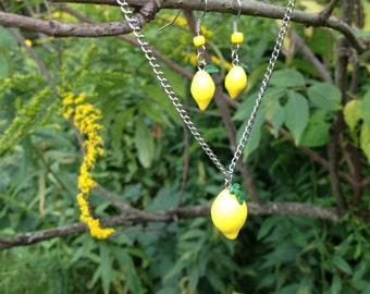 Adorable Fresh Lemon Necklace and Earring Set