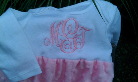 Beautiful Personalized Infant Pink Minky Dot Daygown